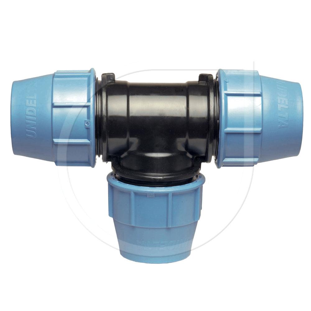 Klemmfitting PN16 T-Stück 90° für PE-Rohr Ø25x25x25mm Bild 1