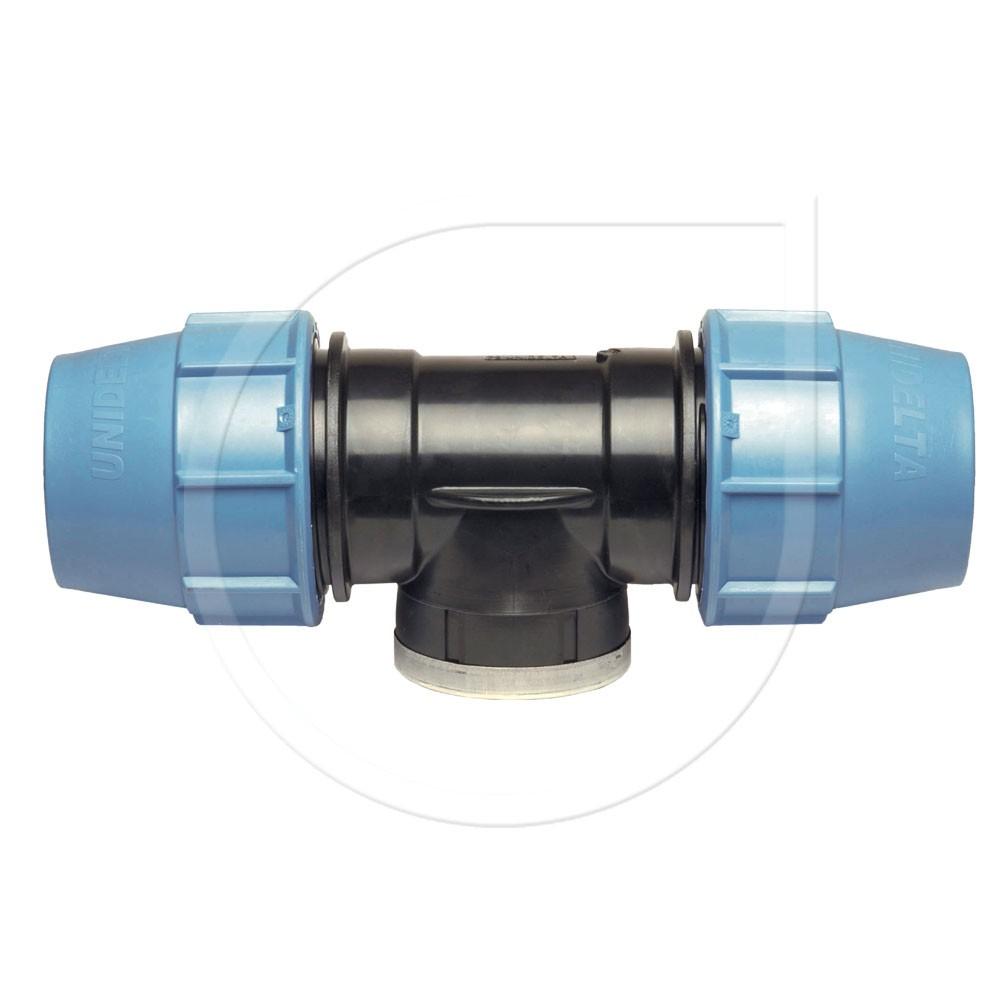 """Klemmfitting PN16 T-Stück 90° mit iG für PE-Rohr Ø32x1 1/4""""x32mm Bild 1"""