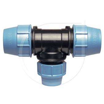 Klemmfitting PN16 T-Stück 90° reduz. für PE-Rohr Ø50x32x50mm Bild 1