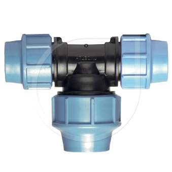 Klemmfitting PN16 T-Stück90° mit vergr. Abgang für PE-Rohr Ø25x32x25mm Bild 1