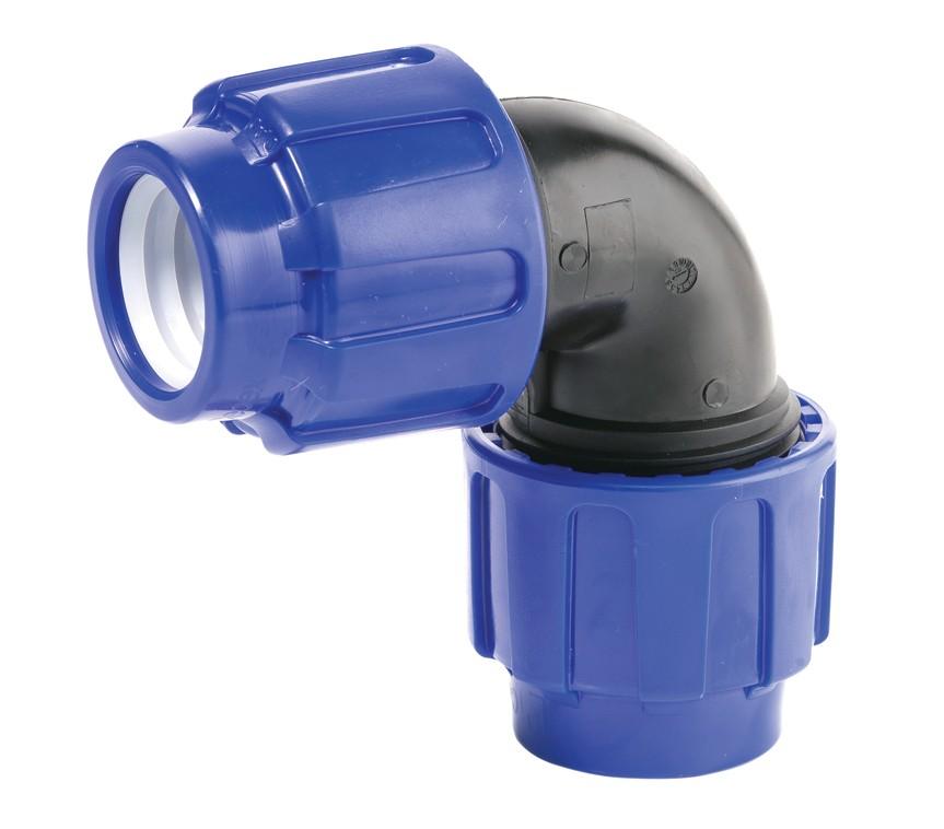 PP Klemmfitting Winkel für PE-LD Rohr 32x32mm Bild 1